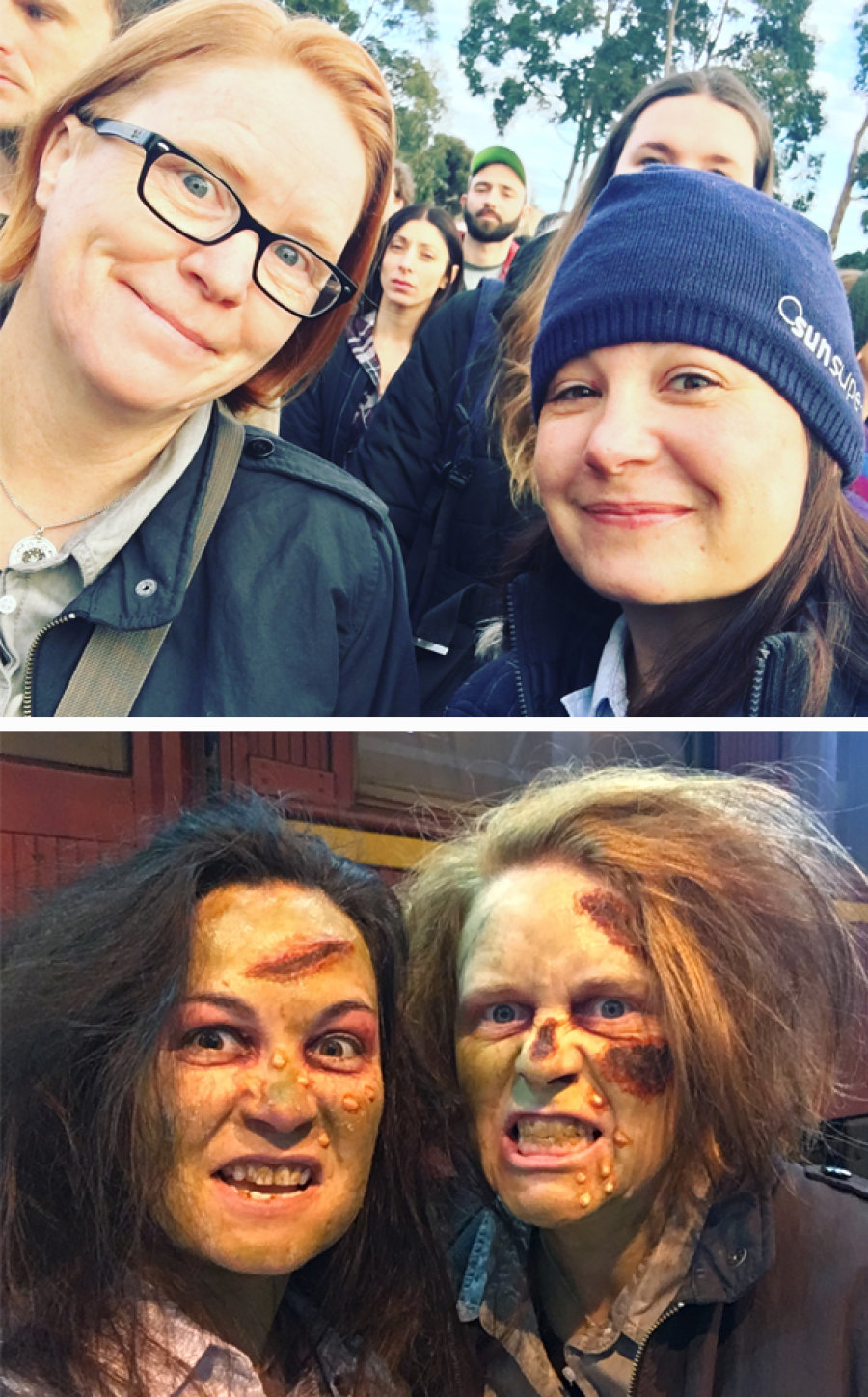 Before and after: the makeup techs on set worked tirelessly to transform hundreds of extras into the undead.