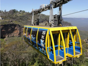 The Skyway cabin at Scenic World Katoomba passing over the Jamison Valley in the Blue Mountains. Picture: Bob Barker. Source: News Limited